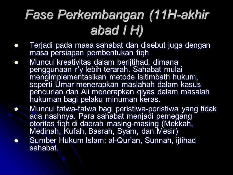Fase Formulasi dan Sistematisasi (abad I sampai abad IIH)  Terjadi pada masa dinasti-dinasti Islam (Umayyah dan Abbasiyah)  Muncul pusat-pusat intelektual, yaitu Hijaz (Mekkah dan Medinah), Iraq (Kufah dan Basrah), dan Syria atau Syam.