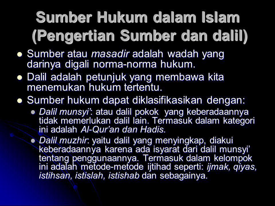 Sumber Hukum dalam Islam (Pengertian Sumber dan dalil)  Sumber atau masadir adalah wadah yang darinya digali norma-norma hukum.  Dalil adalah petunj
