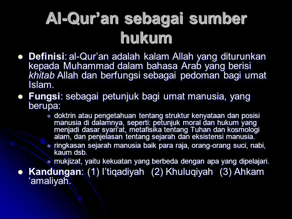 Al-Qur'an sebagai sumber hukum  Definisi: al-Qur'an adalah kalam Allah yang diturunkan kepada Muhammad dalam bahasa Arab yang berisi khitab Allah dan