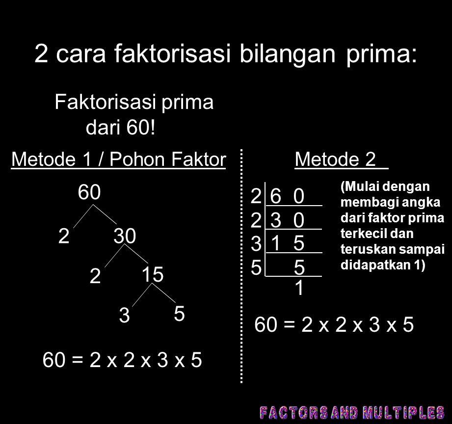2 cara faktorisasi bilangan prima: Metode 1 / Pohon Faktor Faktorisasi prima dari 60! 60 230 2 15 3 5 60 = 2 x 2 x 3 x 5 Metode 2 6 0 2 2 3 3 0 5 1 5