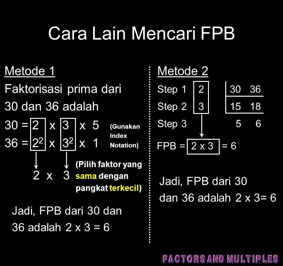 Cara Lain Mencari FPB Metode 1 Faktorisasi prima dari 30 dan 36 adalah 30 = 2 x 3 x 5 36 = 2 2 x 3 2 x 1 2 x 3 (Gunakan Index Notation) (Pilih faktor yang sama dengan pangkat terkecil) Jadi, FPB dari 30 dan 36 adalah 2 x 3 = 6 Metode 2 Step 1 2 30 36 Step 2 3 15 18 Step 3 5 6 FPB = 2 x 3 = 6 Jadi, FPB dari 30 dan 36 adalah 2 x 3= 6