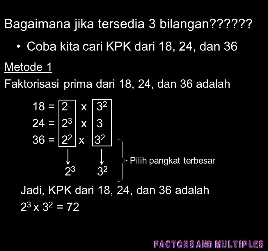 Bagaimana jika tersedia 3 bilangan?????? •Coba kita cari KPK dari 18, 24, dan 36 Metode 1 Faktorisasi prima dari 18, 24, dan 36 adalah 18 = 2 x 3 2 24