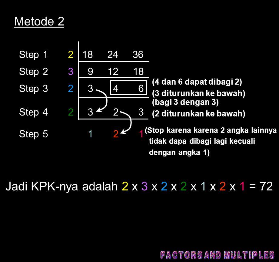 Metode 2 Step 1 2 18 24 36 Step 2 3 9 12 18 Step 3 2 3 4 6 Step 4 2 3 2 3 Step 5 1 2 1 (4 dan 6 dapat dibagi 2) (3 diturunkan ke bawah) (bagi 3 dengan 3) (2 diturunkan ke bawah) (Stop karena karena 2 angka lainnya tidak dapa dibagi lagi kecuali dengan angka 1) Jadi KPK-nya adalah 2 x 3 x 2 x 2 x 1 x 2 x 1 = 72