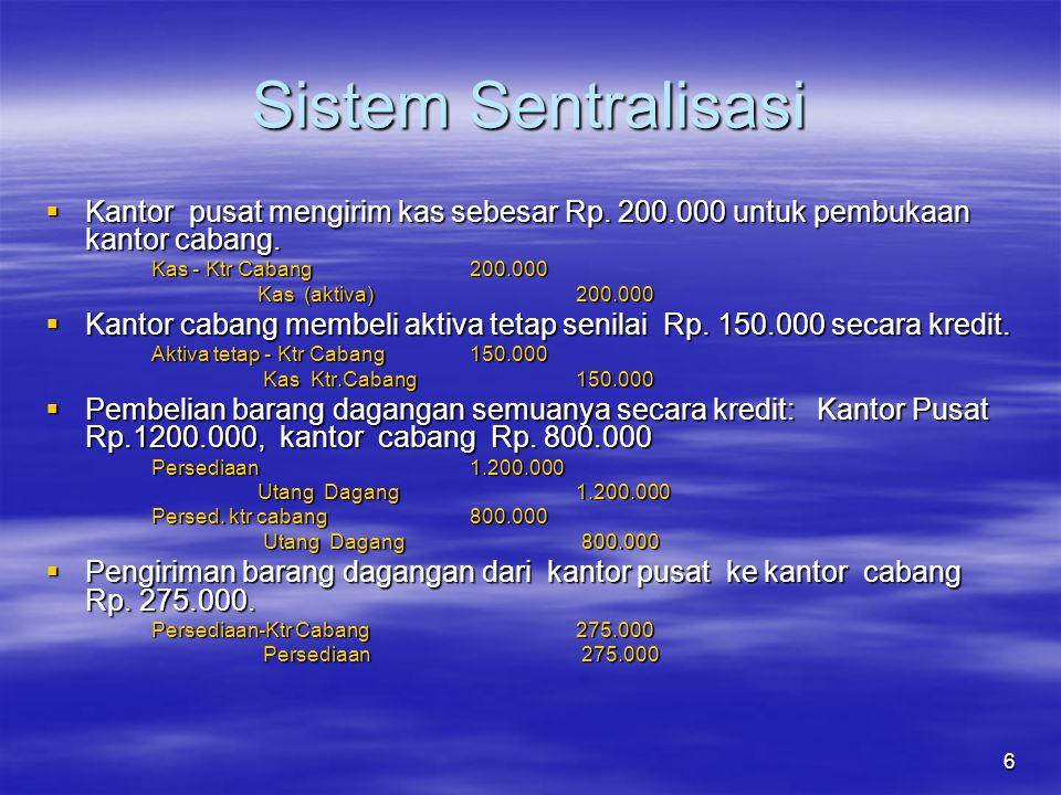 6 Sistem Sentralisasi  Kantor pusat mengirim kas sebesar Rp.
