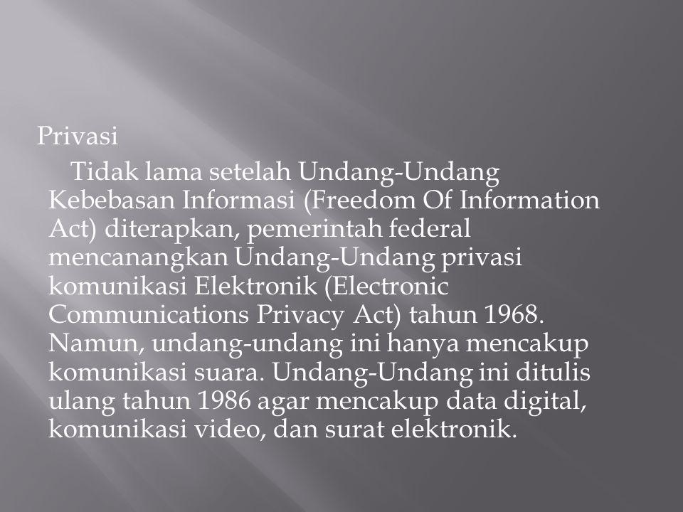 Privasi Tidak lama setelah Undang-Undang Kebebasan Informasi (Freedom Of Information Act) diterapkan, pemerintah federal mencanangkan Undang-Undang pr