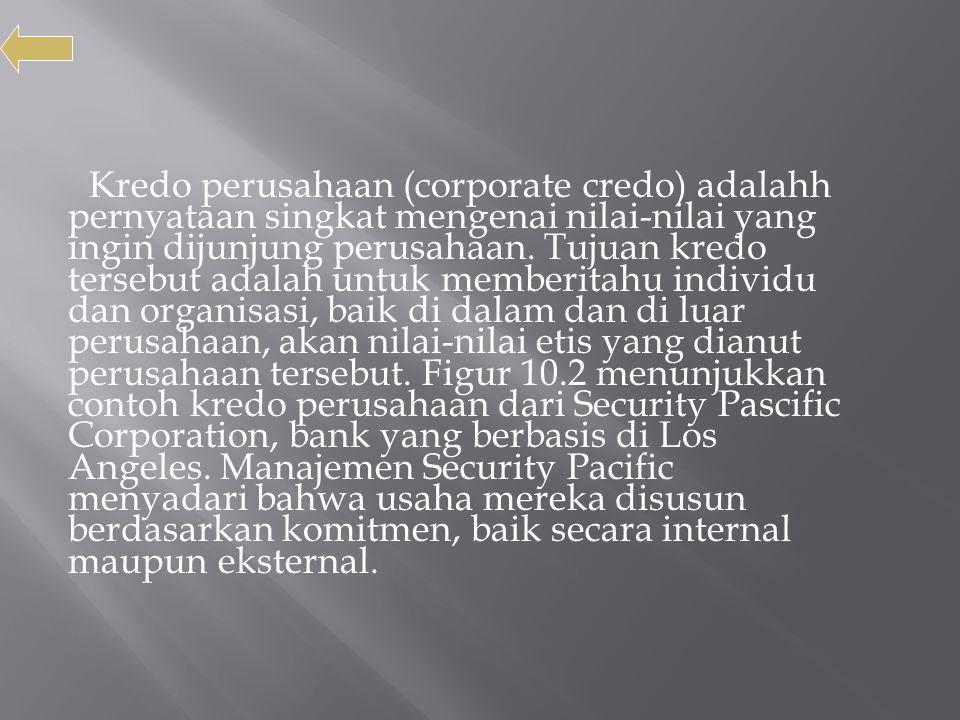 Kredo perusahaan (corporate credo) adalahh pernyataan singkat mengenai nilai-nilai yang ingin dijunjung perusahaan. Tujuan kredo tersebut adalah untuk