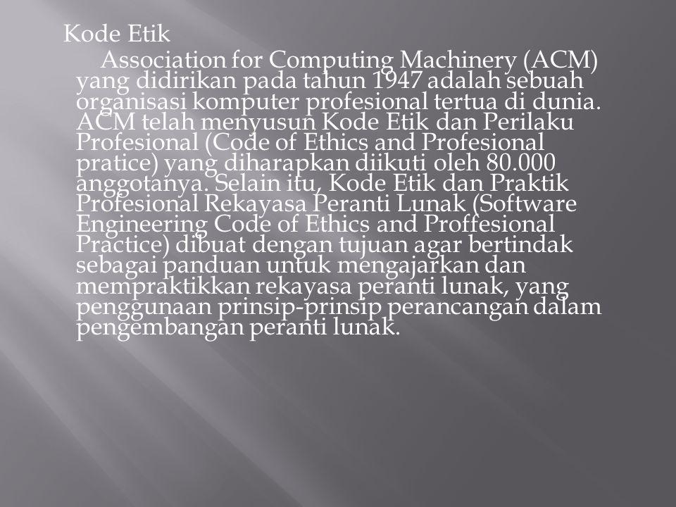 Kode Etik Association for Computing Machinery (ACM) yang didirikan pada tahun 1947 adalah sebuah organisasi komputer profesional tertua di dunia. ACM