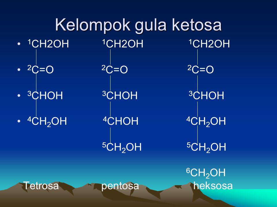 Kelompok gula ketosa • 1 CH2OH 1 CH2OH 1 CH2OH • 2 C=O 2 C=O 2 C=O • 3 CHOH 3 CHOH 3 CHOH • 4 CH 2 OH 4 CHOH 4 CH 2 OH 5 CH 2 OH 5 CH 2 OH 6 CH 2 OH Tetrosa pentosa heksosa