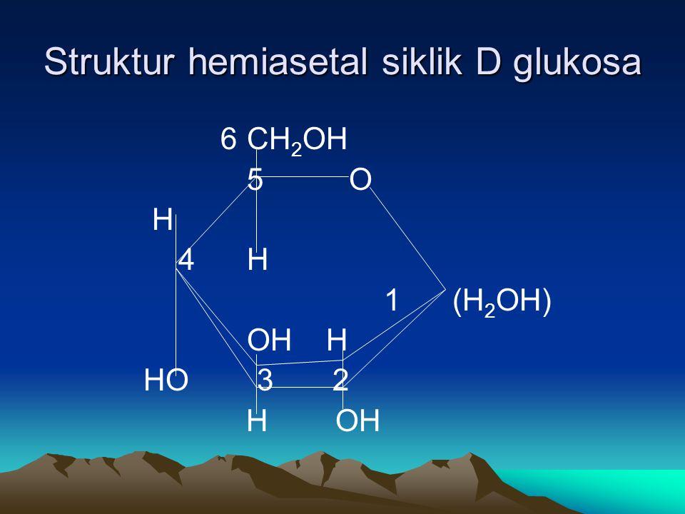 Struktur hemiasetal siklik D glukosa 6CH 2 OH 5 O H 4H 1(H 2 OH) OH H HO 3 2 H OH