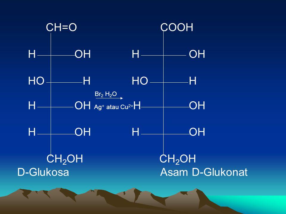 CH=OCOOH HOHHOH Br 2 H 2 O HOH Ag + atau Cu 2+ HOH HOHHOH CH 2 OH CH 2 OH D-GlukosaAsam D-Glukonat