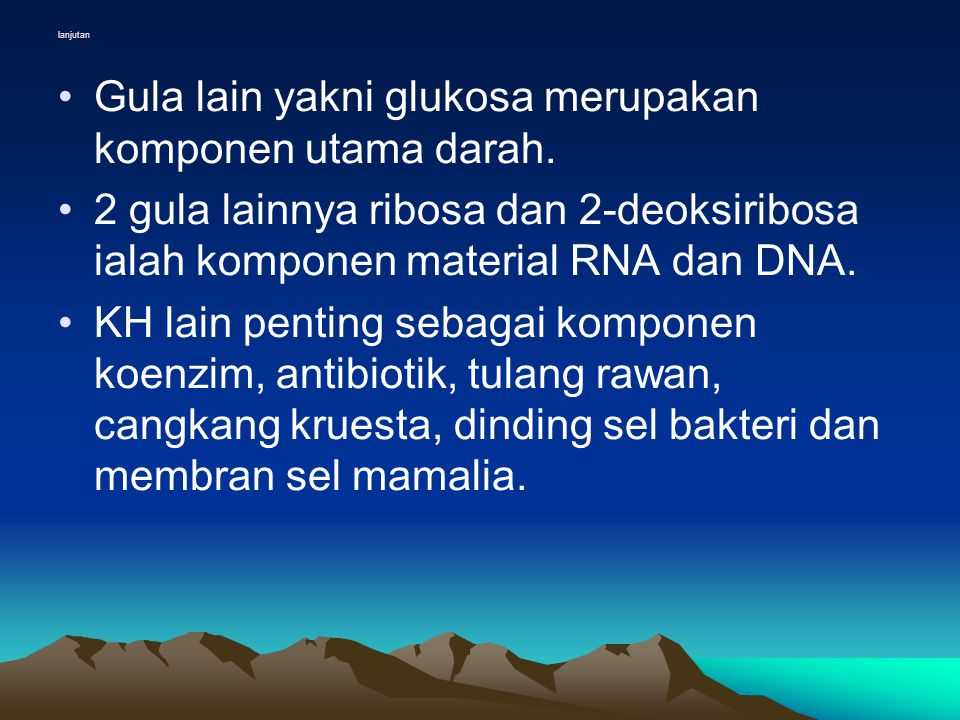Reduksi Monosakarida •Gugus karbonil daro aldosa dan ketosa dapat direduksi oleh berbagai reagen.