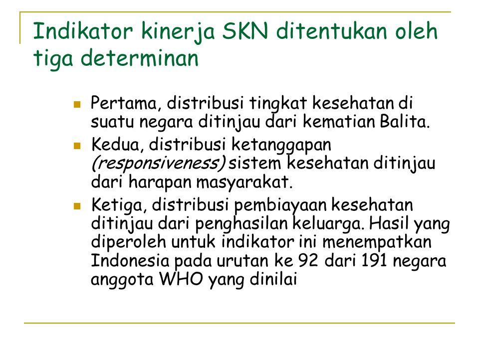 Indikator kinerja SKN ditentukan oleh tiga determinan  Pertama, distribusi tingkat kesehatan di suatu negara ditinjau dari kematian Balita.
