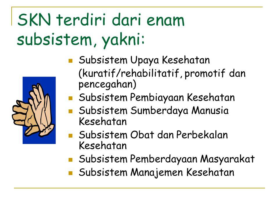 SKN terdiri dari enam subsistem, yakni:  Subsistem Upaya Kesehatan (kuratif/rehabilitatif, promotif dan pencegahan)  Subsistem Pembiayaan Kesehatan  Subsistem Sumberdaya Manusia Kesehatan  Subsistem Obat dan Perbekalan Kesehatan  Subsistem Pemberdayaan Masyarakat  Subsistem Manajemen Kesehatan