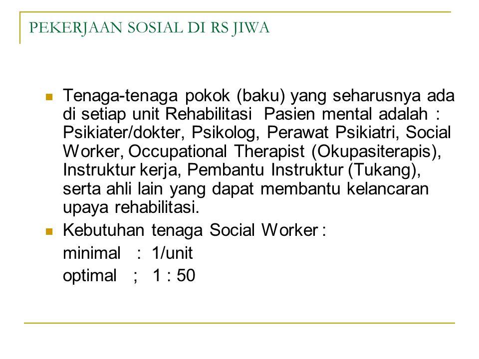 PEKERJAAN SOSIAL DI RS JIWA  Tenaga-tenaga pokok (baku) yang seharusnya ada di setiap unit Rehabilitasi Pasien mental adalah : Psikiater/dokter, Psikolog, Perawat Psikiatri, Social Worker, Occupational Therapist (Okupasiterapis), Instruktur kerja, Pembantu Instruktur (Tukang), serta ahli lain yang dapat membantu kelancaran upaya rehabilitasi.