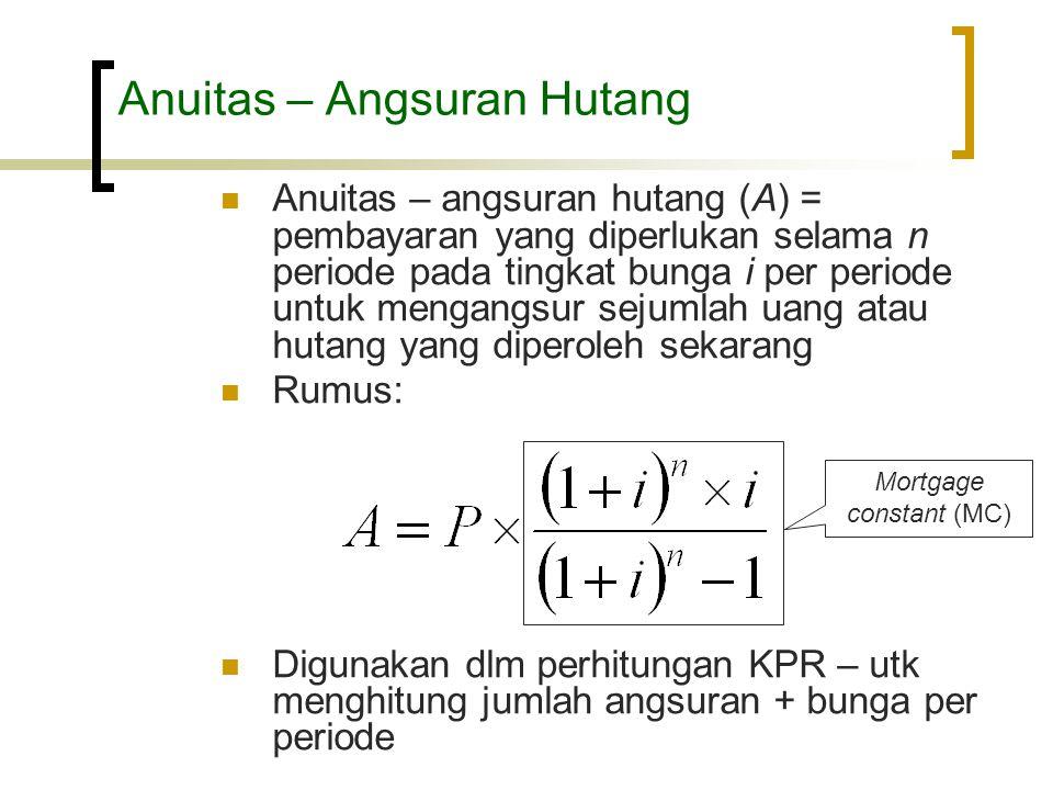 Anuitas – Angsuran Hutang  Anuitas – angsuran hutang (A) = pembayaran yang diperlukan selama n periode pada tingkat bunga i per periode untuk mengang