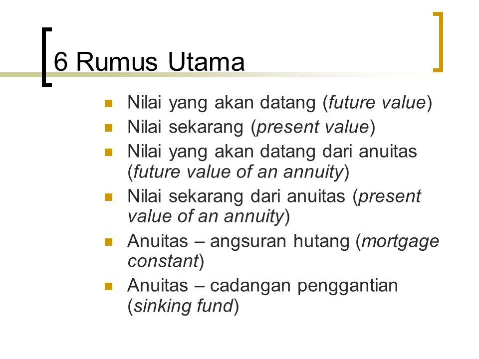 6 Rumus Utama  Nilai yang akan datang (future value)  Nilai sekarang (present value)  Nilai yang akan datang dari anuitas (future value of an annui