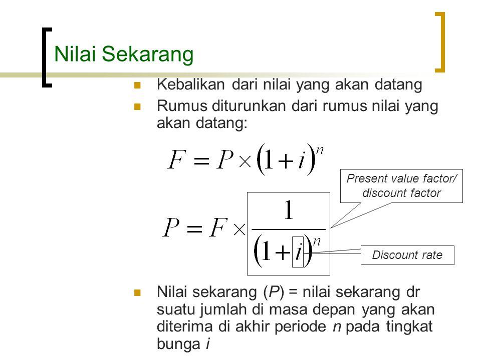 Nilai Sekarang  Kebalikan dari nilai yang akan datang  Rumus diturunkan dari rumus nilai yang akan datang:  Nilai sekarang (P) = nilai sekarang dr