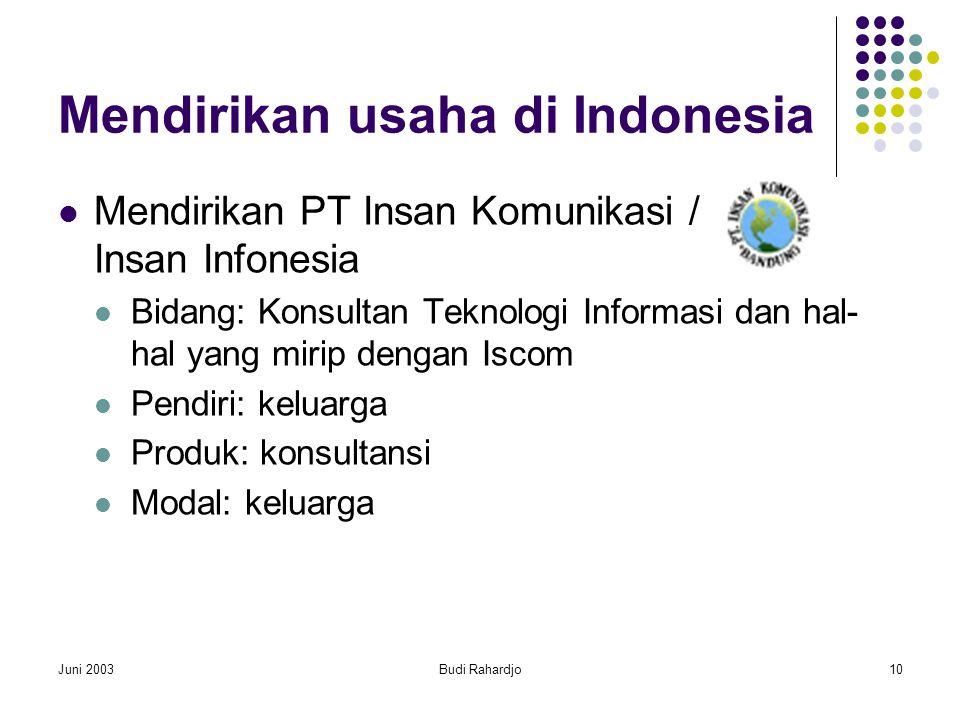 Juni 2003Budi Rahardjo10 Mendirikan usaha di Indonesia  Mendirikan PT Insan Komunikasi / Insan Infonesia  Bidang: Konsultan Teknologi Informasi dan hal- hal yang mirip dengan Iscom  Pendiri: keluarga  Produk: konsultansi  Modal: keluarga