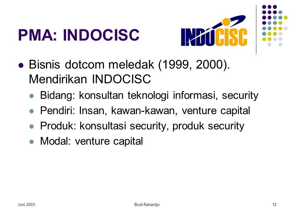 Juni 2003Budi Rahardjo12 PMA: INDOCISC  Bisnis dotcom meledak (1999, 2000).