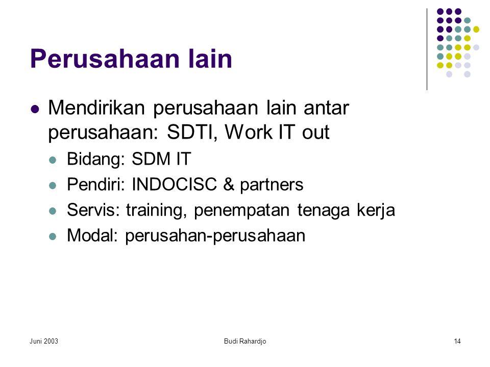 Juni 2003Budi Rahardjo14 Perusahaan lain  Mendirikan perusahaan lain antar perusahaan: SDTI, Work IT out  Bidang: SDM IT  Pendiri: INDOCISC & partners  Servis: training, penempatan tenaga kerja  Modal: perusahan-perusahaan