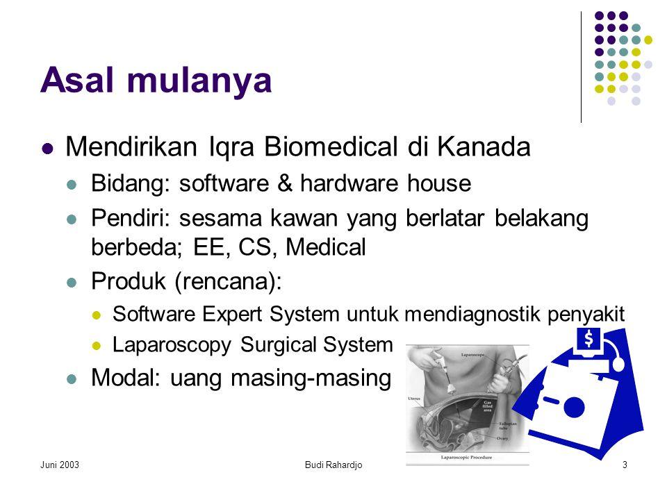 Juni 2003Budi Rahardjo3 Asal mulanya  Mendirikan Iqra Biomedical di Kanada  Bidang: software & hardware house  Pendiri: sesama kawan yang berlatar belakang berbeda; EE, CS, Medical  Produk (rencana):  Software Expert System untuk mendiagnostik penyakit  Laparoscopy Surgical System  Modal: uang masing-masing