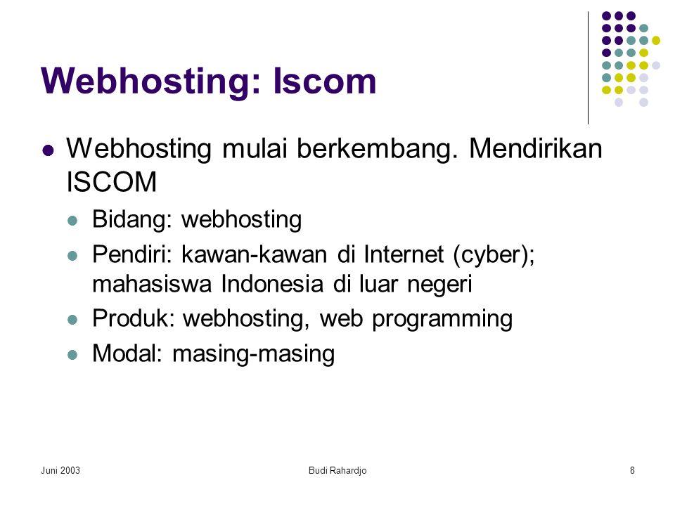 Juni 2003Budi Rahardjo8 Webhosting: Iscom  Webhosting mulai berkembang.