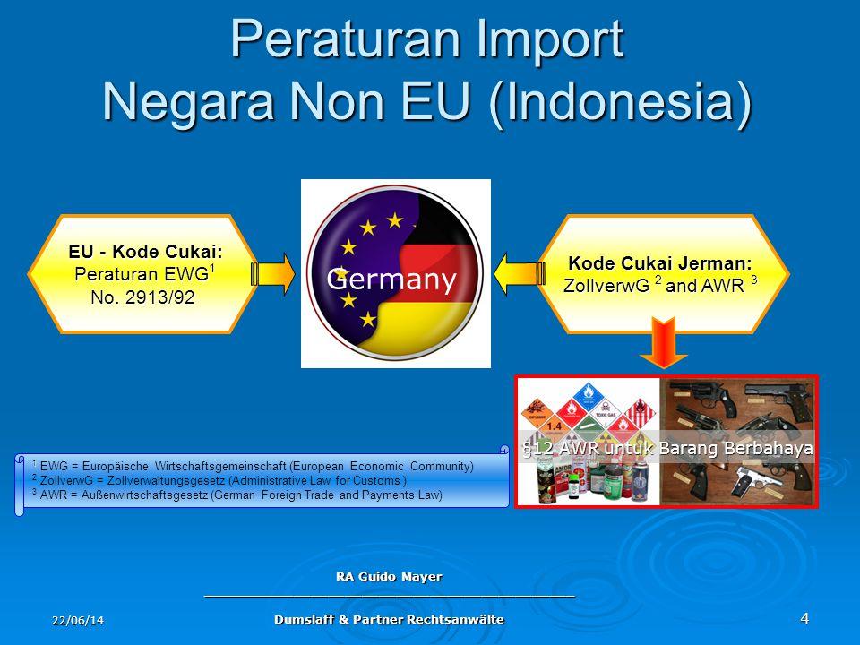 22/06/14 RA Guido Mayer ____________________________________________ Dumslaff & Partner Rechtsanwälte 4 Peraturan Import Negara Non EU (Indonesia) Ger