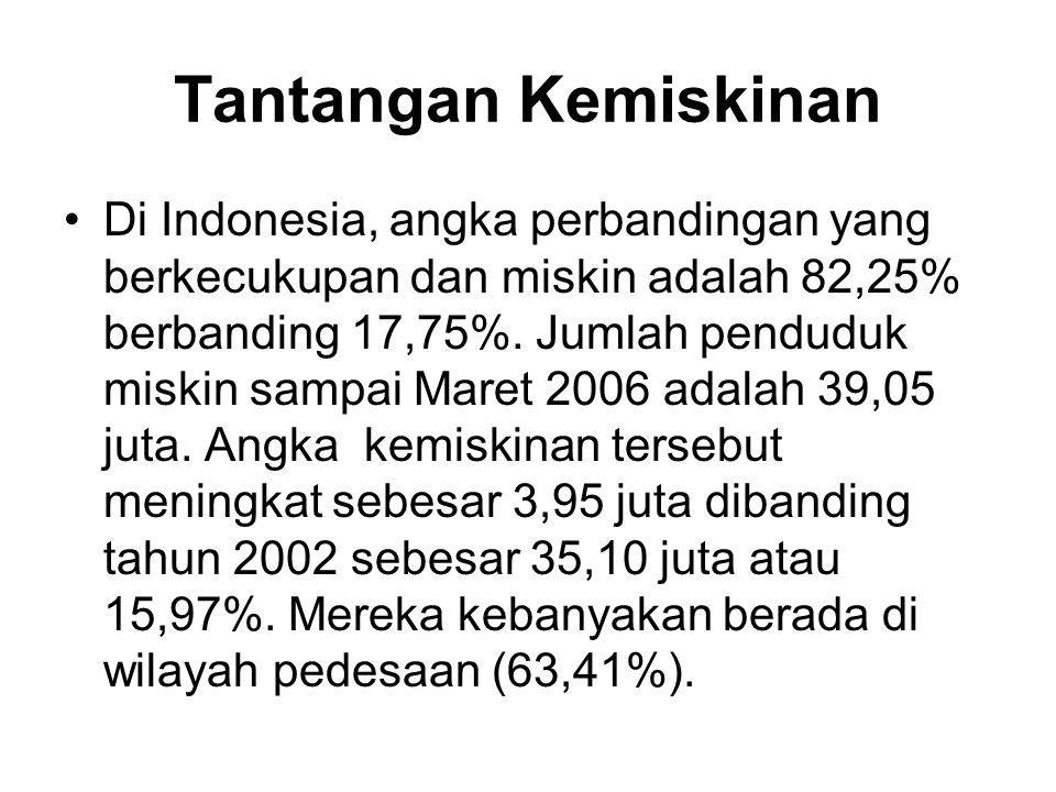 Tantangan Kemiskinan •Di Indonesia, angka perbandingan yang berkecukupan dan miskin adalah 82,25% berbanding 17,75%. Jumlah penduduk miskin sampai Mar