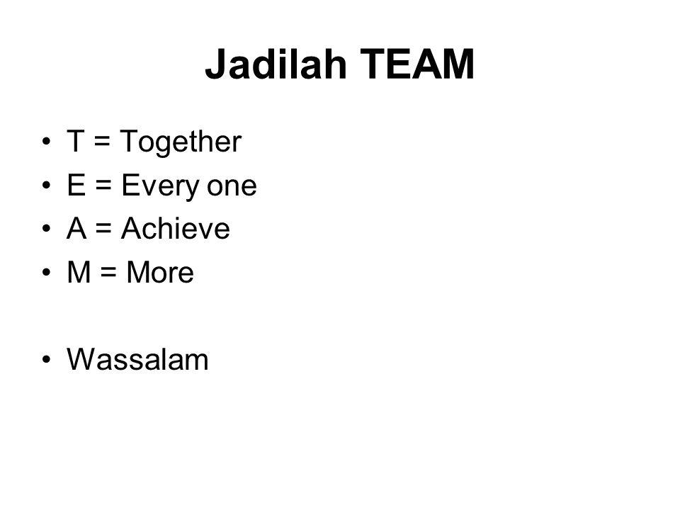 Jadilah TEAM •T = Together •E = Every one •A = Achieve •M = More •Wassalam