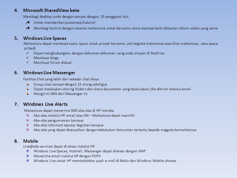4.Microsoft SharedView beta Membagi desktop anda dengan sampai dengan 15 pengguna lain. Untuk memberikan presentasi/tutorial Membagi kontrol dengan se