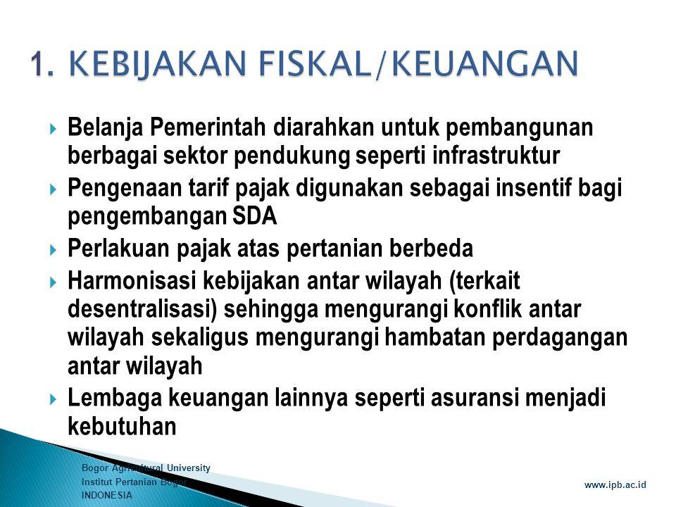 Bogor Agricultural University Institut Pertanian Bogor INDONESIA www.ipb.ac.id  Belanja Pemerintah diarahkan untuk pembangunan berbagai sektor penduk