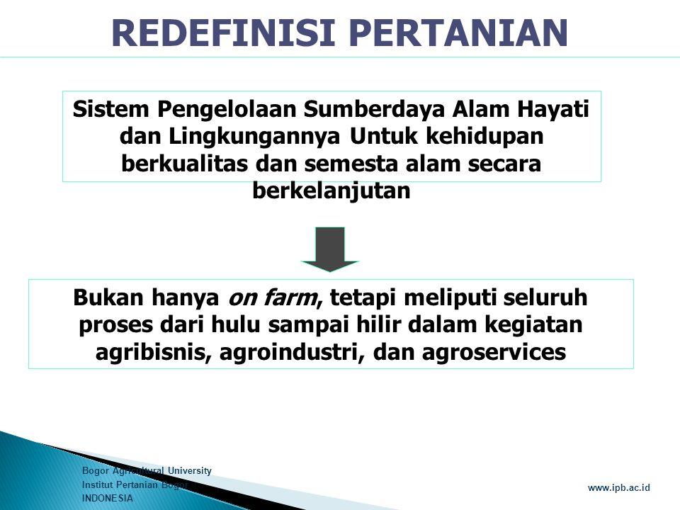 Bogor Agricultural University Institut Pertanian Bogor INDONESIA www.ipb.ac.id REDEFINISI PERTANIAN Sistem Pengelolaan Sumberdaya Alam Hayati dan Ling