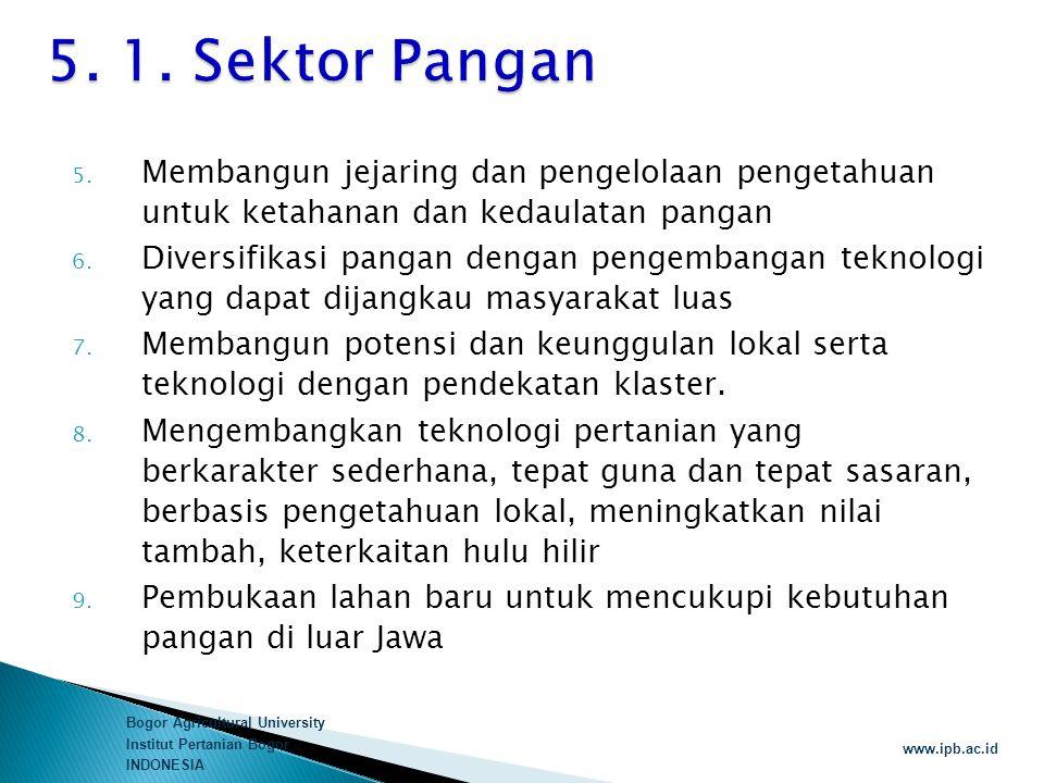Bogor Agricultural University Institut Pertanian Bogor INDONESIA www.ipb.ac.id 5. Membangun jejaring dan pengelolaan pengetahuan untuk ketahanan dan k