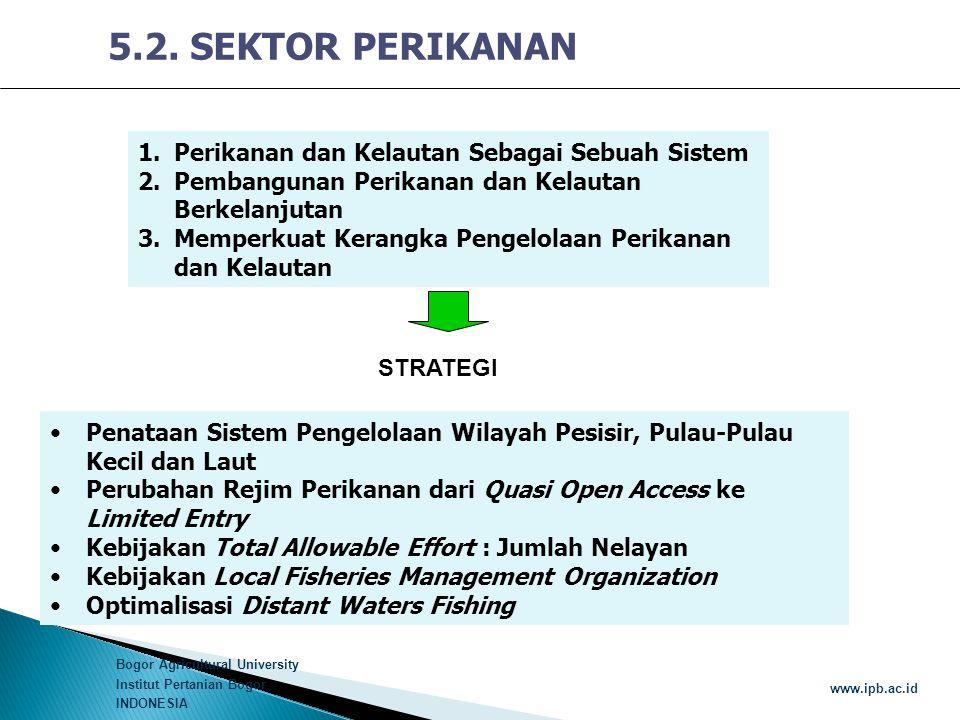 Bogor Agricultural University Institut Pertanian Bogor INDONESIA www.ipb.ac.id 5.2. SEKTOR PERIKANAN 1.Perikanan dan Kelautan Sebagai Sebuah Sistem 2.