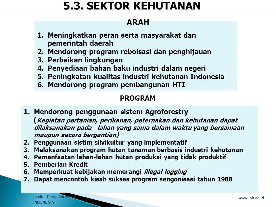 Bogor Agricultural University Institut Pertanian Bogor INDONESIA www.ipb.ac.id 1.Meningkatkan peran serta masyarakat dan pemerintah daerah 2.Mendorong