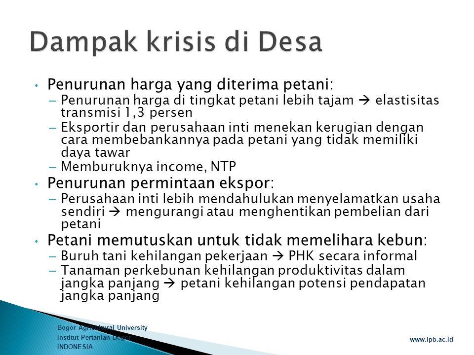 Bogor Agricultural University Institut Pertanian Bogor INDONESIA www.ipb.ac.id • Penurunan harga yang diterima petani: – Penurunan harga di tingkat pe