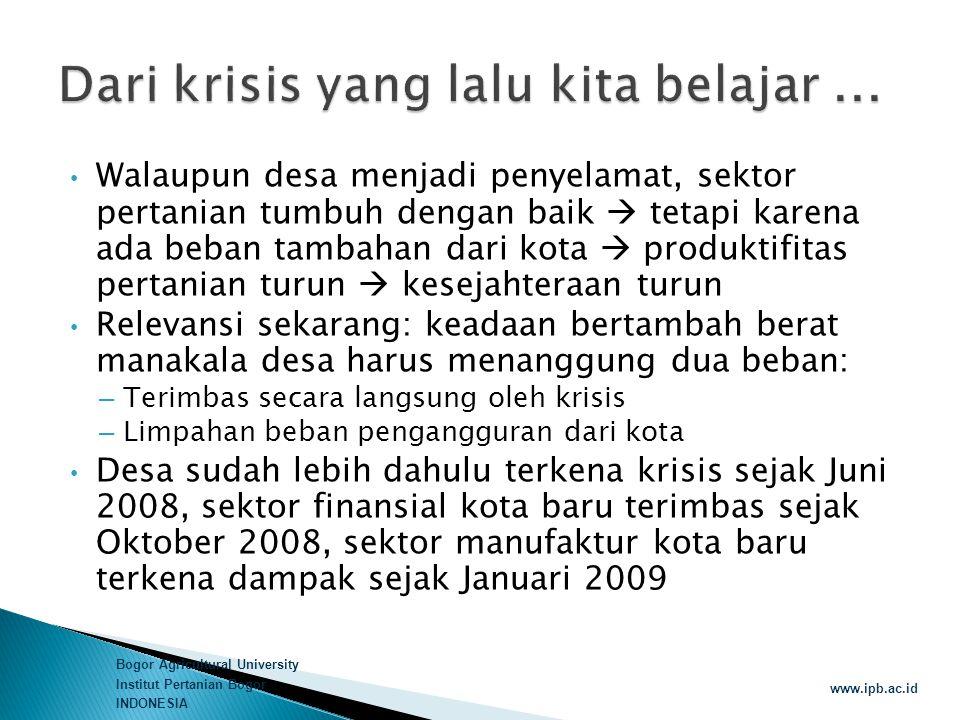 Bogor Agricultural University Institut Pertanian Bogor INDONESIA www.ipb.ac.id  Perbankan didorong untuk memberikan suku bunga yang tidak saja kompetitif bagi sektor pertanian dan SDA tetapi juga disesuaikan dengan karakter proses produksi yang berbasis SDA  Lembaga Perbankan dan produk-produknya yang mengkhususkan untuk mendukung sektor pertanian dalam arti luas (Bank Pertanian)  Kebijakan fiskal dan moneter harus berjalan seiringan dan tidak kontraproduktif  Amandemen terhadap UU Perbankan yang hanya mengakui Bank Umum dan Bank Perkreditan Rakyat
