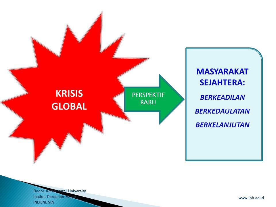 Bogor Agricultural University Institut Pertanian Bogor INDONESIA www.ipb.ac.id  Penataan ruang yang menciptakan keberimbangan inter-regional melaui percepatan pusat pertumbuhan perdesaan dan kota menengah/kecil  Prasarana dasar untuk pembangunan perdesaan : irigasi dan jalan  Meningkatkan daya dukung lingkungan menciptakan kapasitas fungsi kawasan lindung dan budidaya  Mencegah konversi lahan pertanian pangan dan hutan