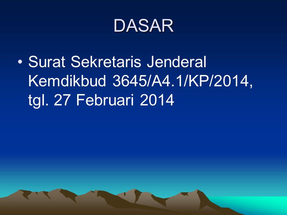 DASAR •Surat Sekretaris Jenderal Kemdikbud 3645/A4.1/KP/2014, tgl. 27 Februari 2014