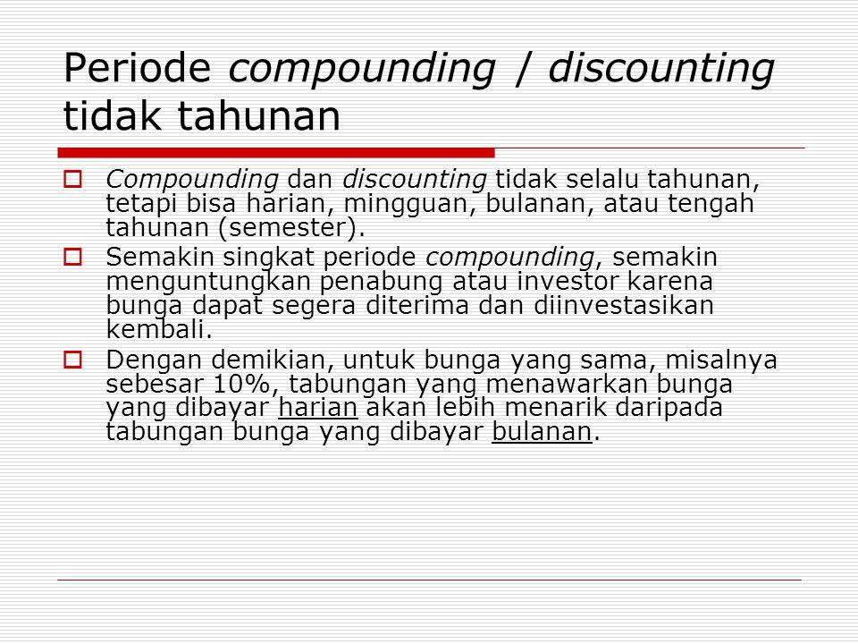 Periode compounding / discounting tidak tahunan  Compounding dan discounting tidak selalu tahunan, tetapi bisa harian, mingguan, bulanan, atau tengah tahunan (semester).