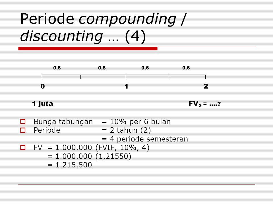 Periode compounding / discounting … (4)  Bunga tabungan = 10% per 6 bulan  Periode = 2 tahun (2) = 4 periode semesteran  FV = 1.000.000 (FVIF, 10%,
