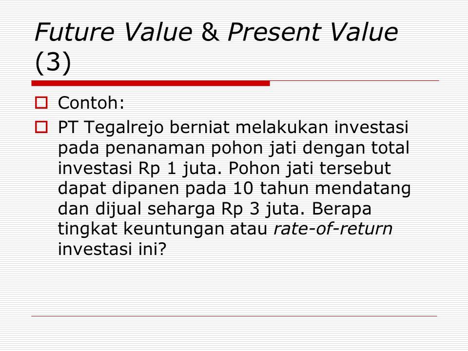 Future Value & Present Value (3)  Contoh:  PT Tegalrejo berniat melakukan investasi pada penanaman pohon jati dengan total investasi Rp 1 juta. Poho