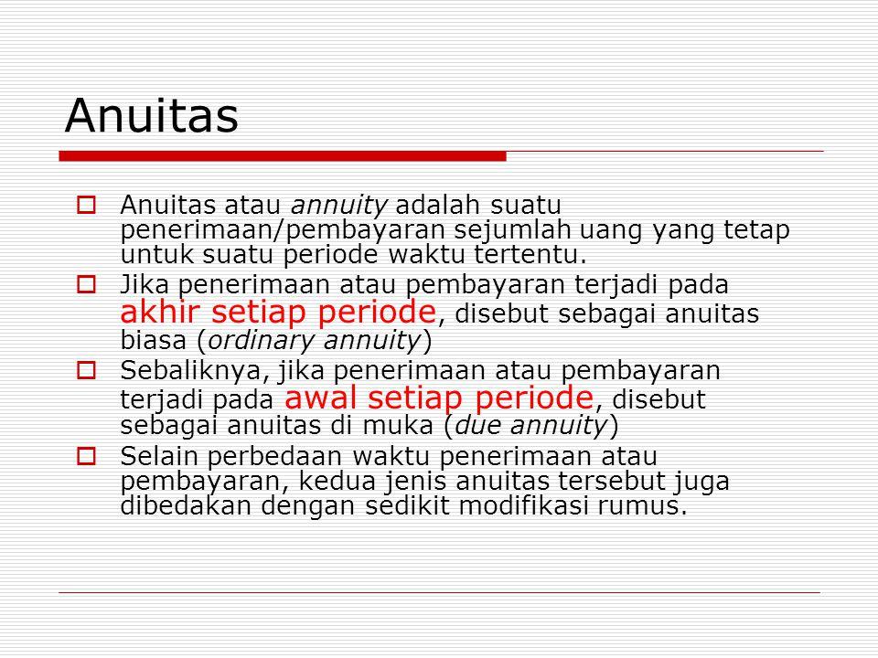 Anuitas  Anuitas atau annuity adalah suatu penerimaan/pembayaran sejumlah uang yang tetap untuk suatu periode waktu tertentu.  Jika penerimaan atau