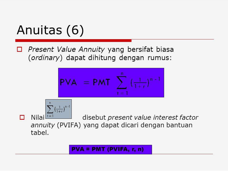 Anuitas (6)  Present Value Annuity yang bersifat biasa (ordinary) dapat dihitung dengan rumus:  Nilai disebut present value interest factor annuity