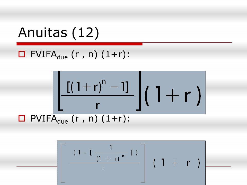 Anuitas (12)  FVIFA due (r, n) (1+r):  PVIFA due (r, n) (1+r):