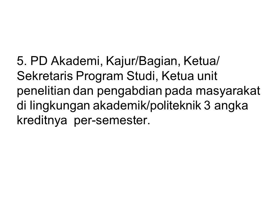 5. PD Akademi, Kajur/Bagian, Ketua/ Sekretaris Program Studi, Ketua unit penelitian dan pengabdian pada masyarakat di lingkungan akademik/politeknik 3