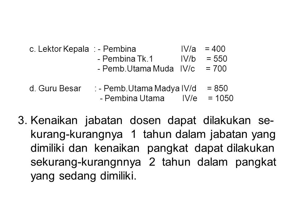 c.Lektor Kepala : - Pembina IV/a = 400 - Pembina Tk.1 IV/b = 550 - Pemb.Utama Muda IV/c = 700 d.
