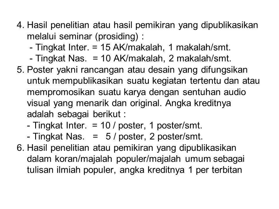 4. Hasil penelitian atau hasil pemikiran yang dipublikasikan melalui seminar (prosiding) : - Tingkat Inter. = 15 AK/makalah, 1 makalah/smt. - Tingkat