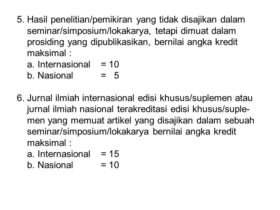 5. Hasil penelitian/pemikiran yang tidak disajikan dalam seminar/simposium/lokakarya, tetapi dimuat dalam prosiding yang dipublikasikan, bernilai angk