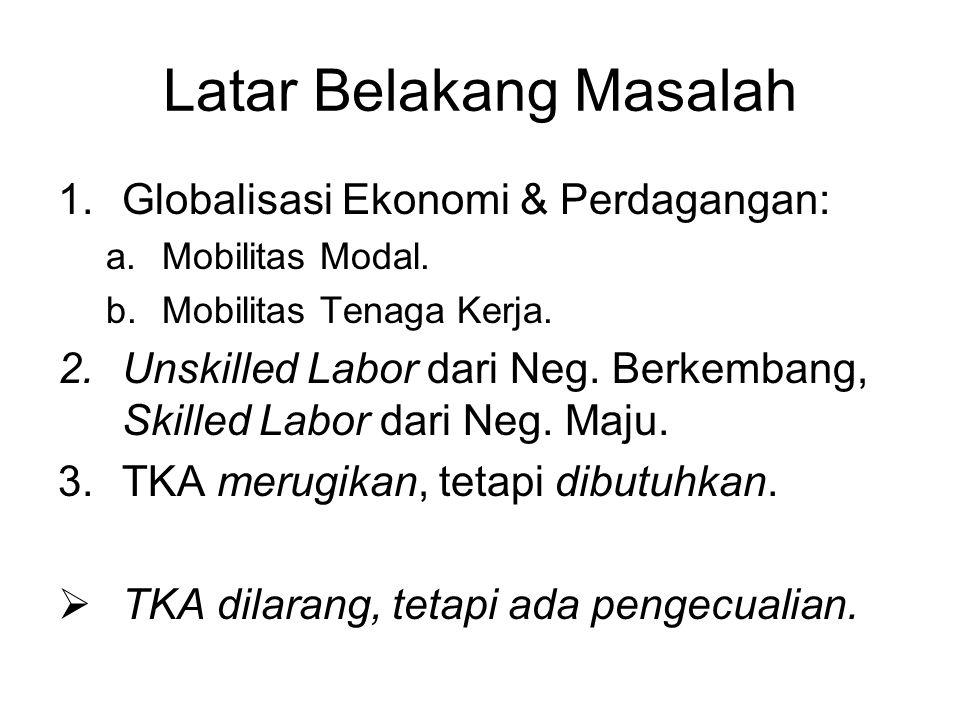 Latar Belakang Masalah 1.Globalisasi Ekonomi & Perdagangan: a.Mobilitas Modal.